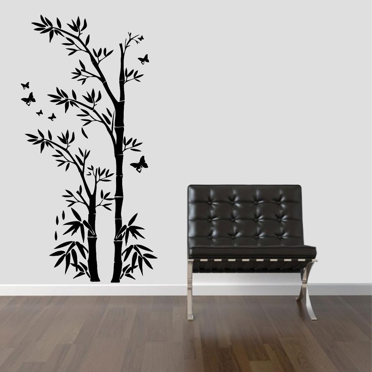 Armario Ikea Pax Roble ~ Adesivo Decorativo Parede Floral Bambu Galhos Borboleta R$ 49,99 em Mercado Livre