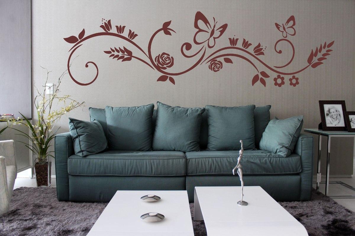 Aparador Verde Envejecido ~ Adesivo Decorativo Parede Floral Borboleta Galho Faixa 1 Mt R$ 28,99 em Mercado L