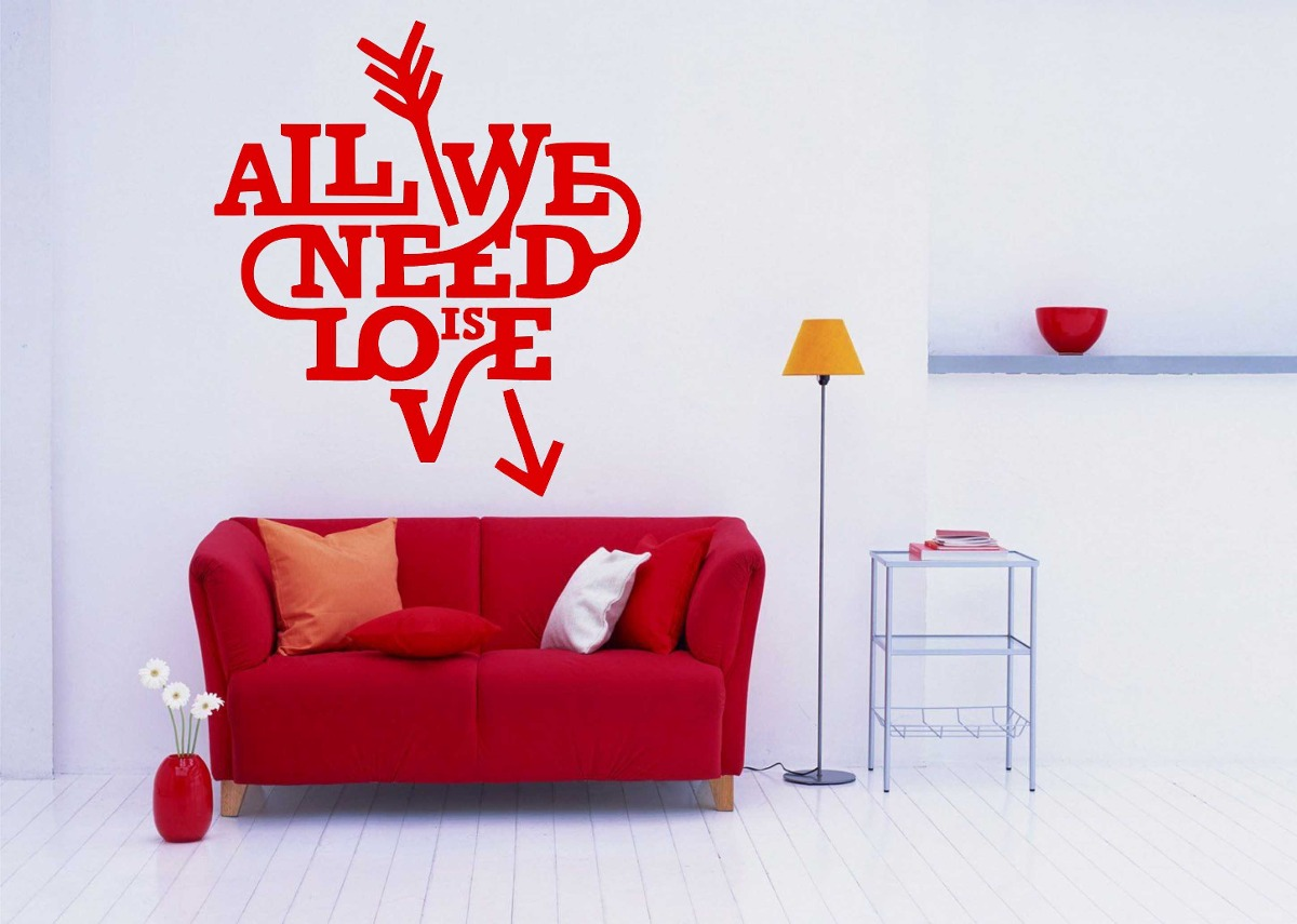 Adesivo Janela Privacidade ~ Adesivo Decorativo Parede Frase All You Need Is Love Beatles R$ 24,99 em Mercado Livre