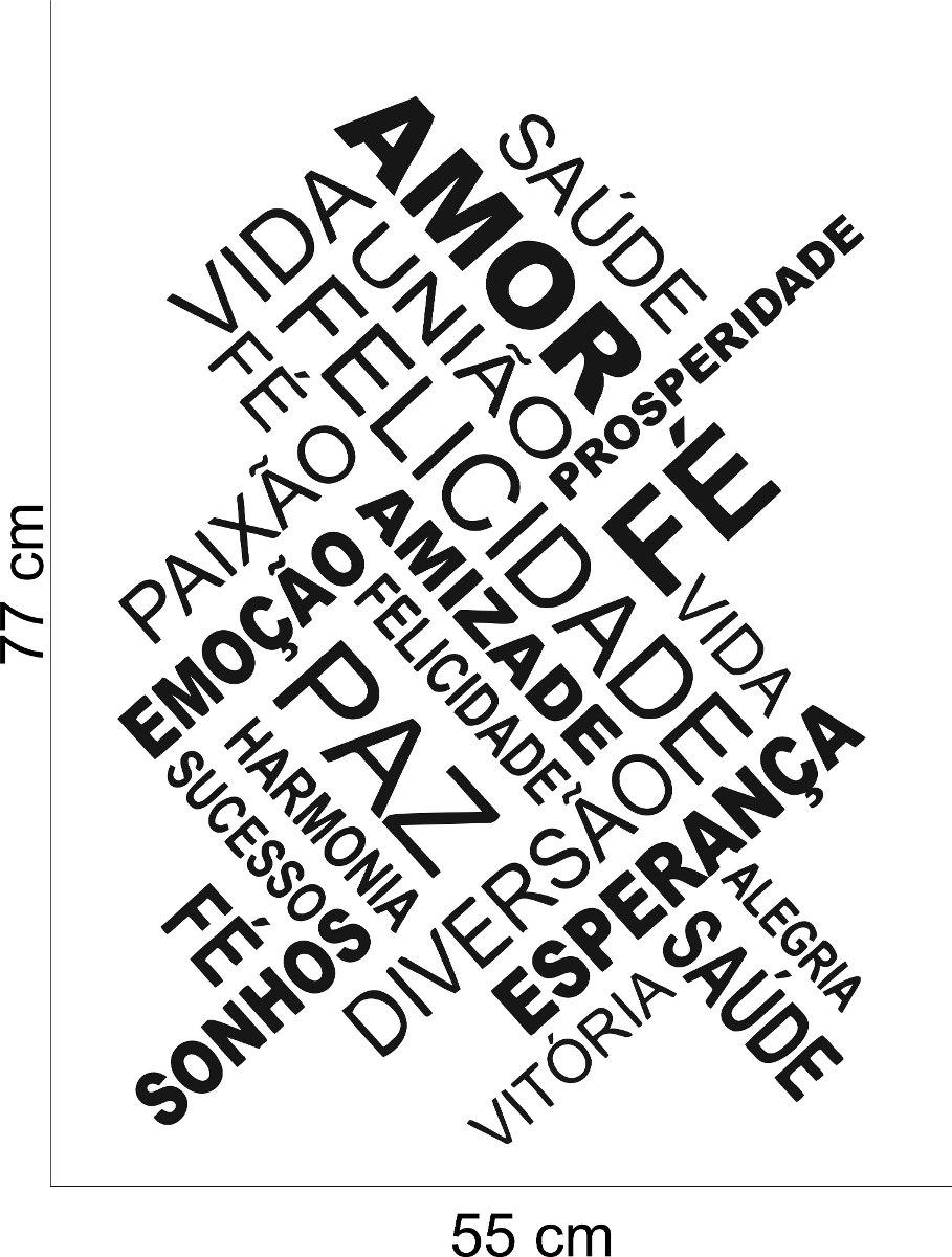 Adesivo Decorativo Parede Frase Felicidade Vida Amor Paz R 39 90