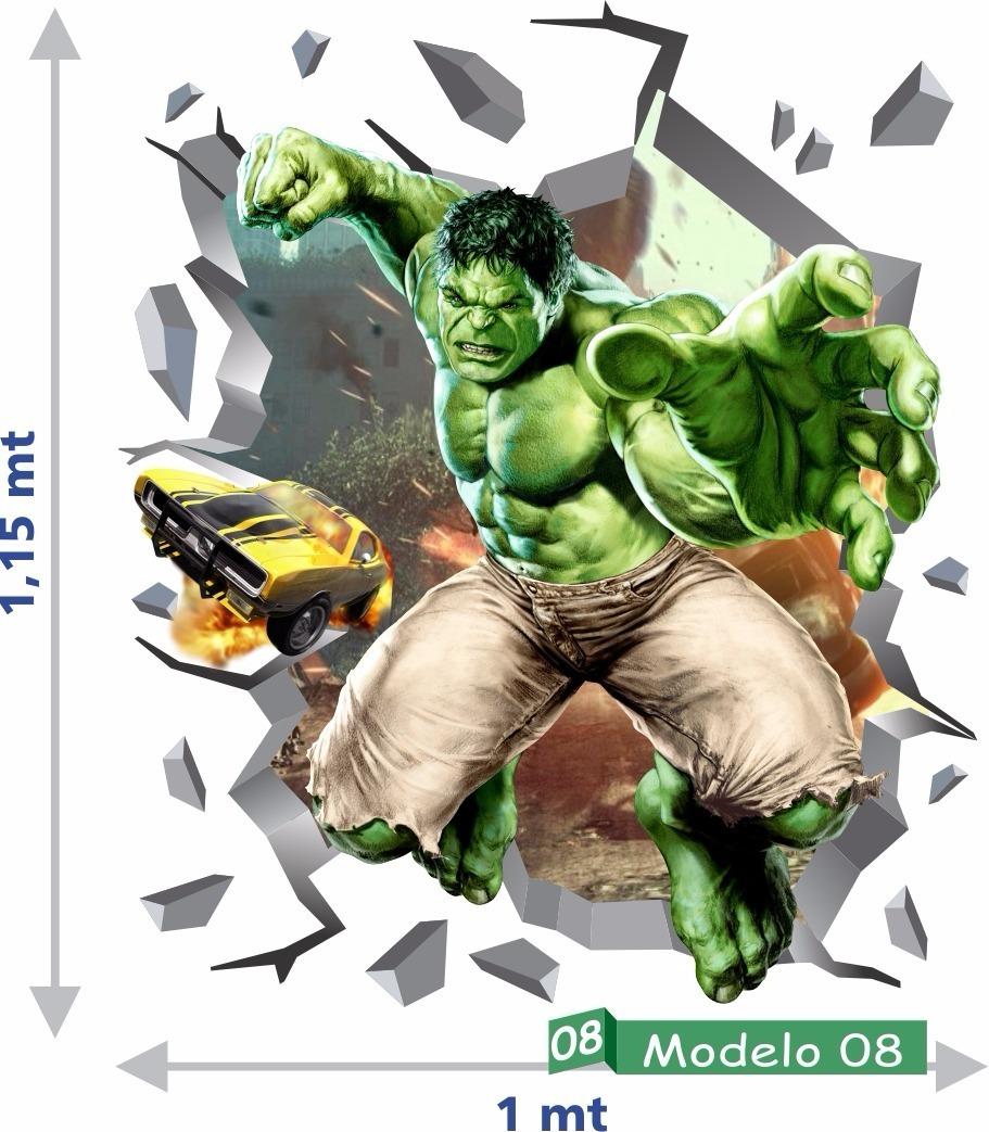Adesivo Decorativo Parede Hulk 3d Vingadores Tamanho Grande R