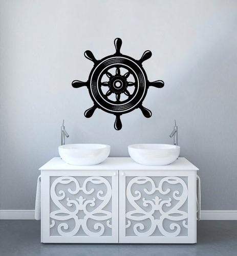 adesivo decorativo parede navio praia leme mar barco 80x80