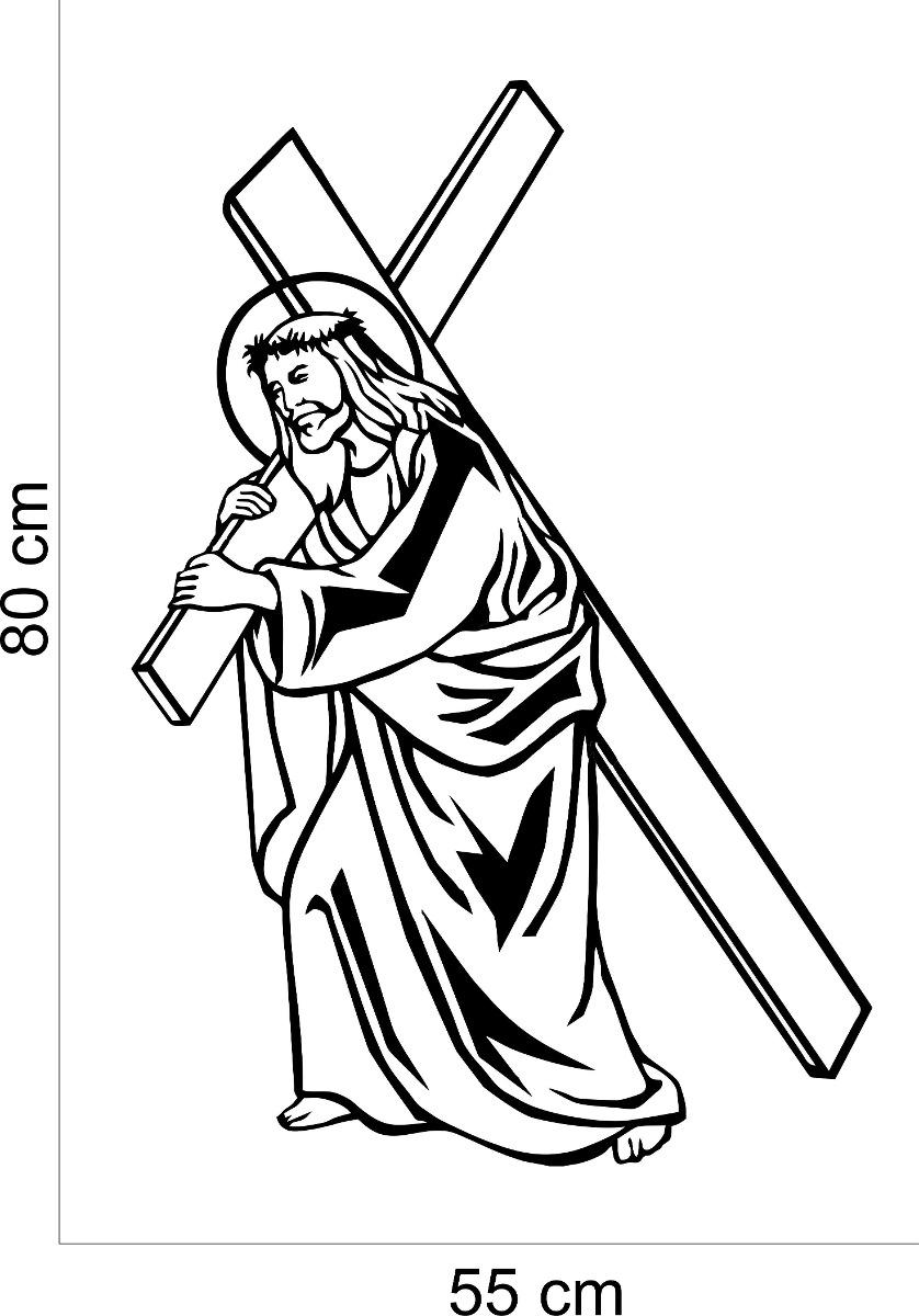Aparador Acrilico Onde Comprar ~ Adesivo Decorativo Parede Religioso Jesus Cristo Cruz R$ 24,99 em Mercado Livre