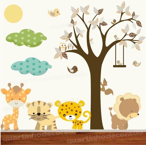 Aparador Wengue ~ Adesivo Decorativo Parede Safari Infantil Bebe Zoo Trenzinho R$ 148,00 em Mercado Livre