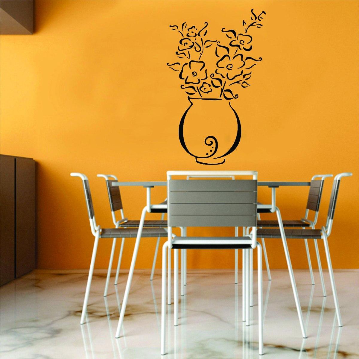 Adesivo Para Moto Frases ~ Adesivo Decorativo Parede Sala Cozinha Floral Vaso De Flor R$ 17,99 em Mercado Livre