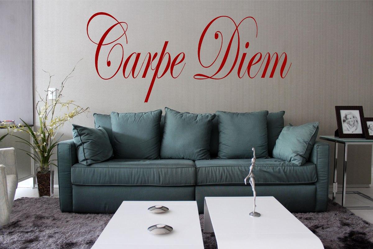 Adesivo De Parede Decorativo Caneta Que Escreve Carpe Diem Casa  -> Adesivos Decorativos Para Sala De Jantar