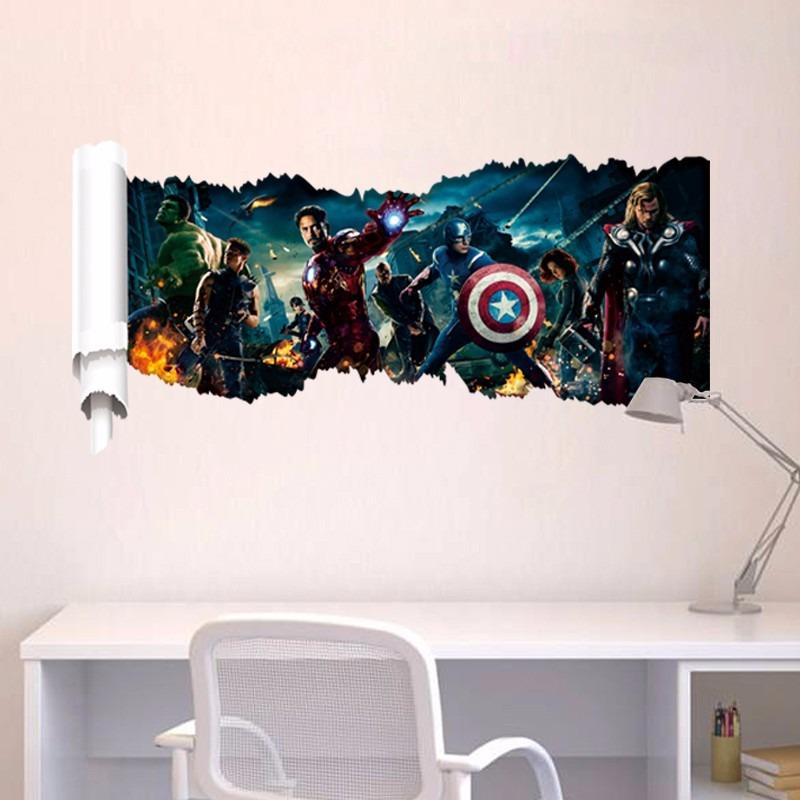 Adesivo De Quarto Infantil ~ Adesivo Decorativo Parede Super Herois 3d Pronta Entrega R$ 27,90 em Mercado Livre