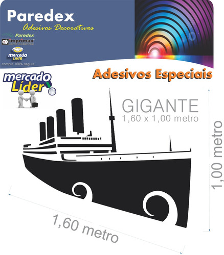 adesivo decorativo parede titanic navio gigante 1,60 metro