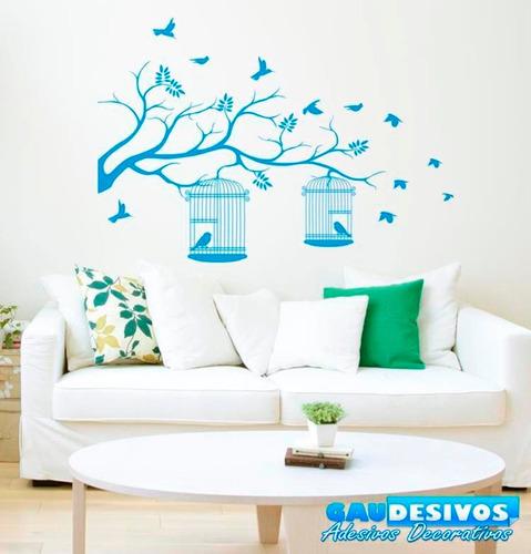 adesivo decorativo parede tronco com passaros e gaiola livre
