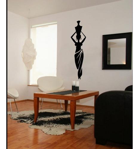 adesivo decorativo parede vaso mulher negra africana 25x100