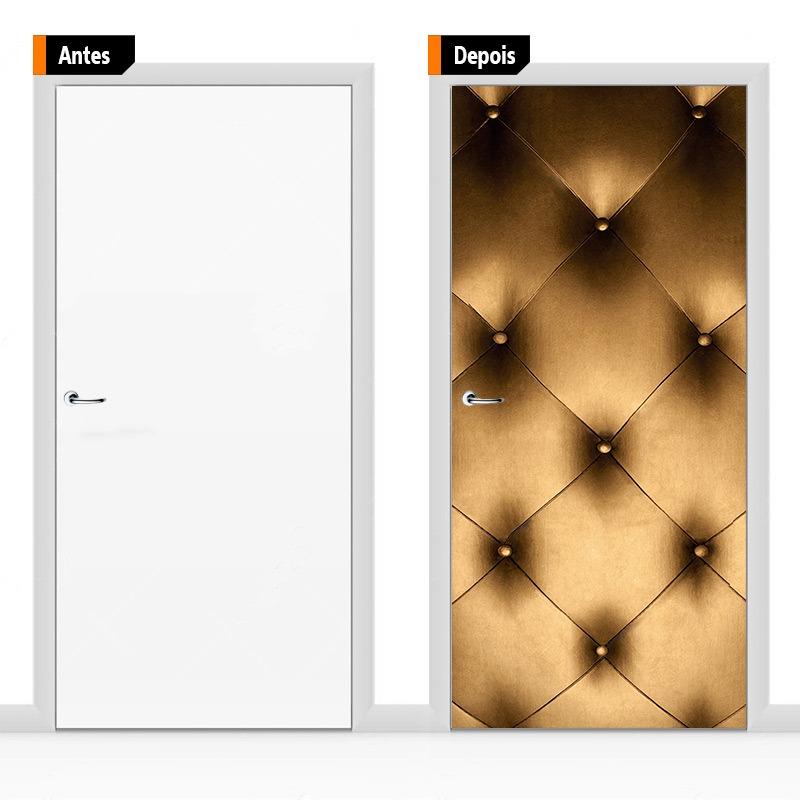 b9cc14c4b8 adesivo decorativo porta textura couro dourado pex17. Carregando zoom.