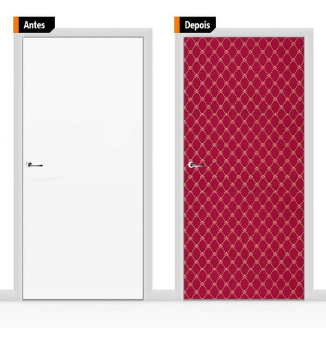 adesivo decorativo porta textura vermelha pex11