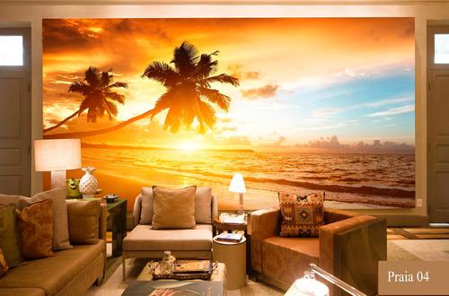 adesivo decorativo praias mural painel adesivo