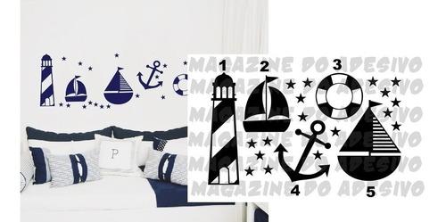 adesivo decorativo tema marinheiro (70x40)cm