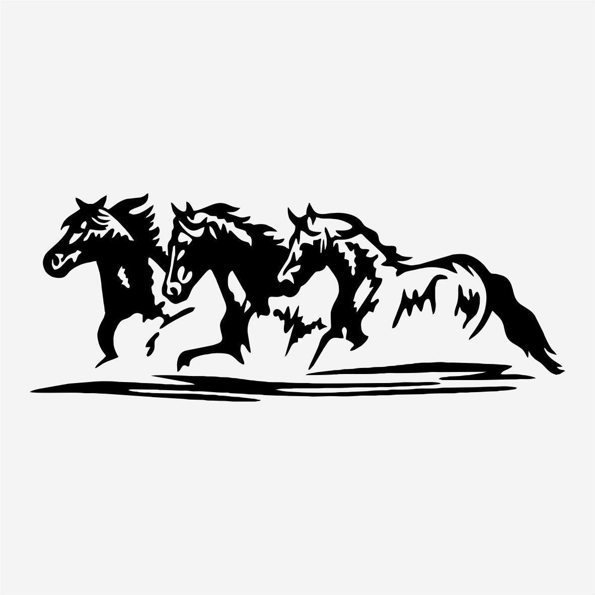 Adesivo Decorativo Trio 3 Cavalos Hipismo Animais 120cm A666 R 23  -> Fts De Cavalo Rm Adesivo Pra Quarto