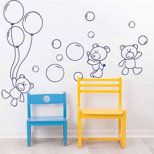 adesivo decorativo ursinhos brincando (085x150)cm