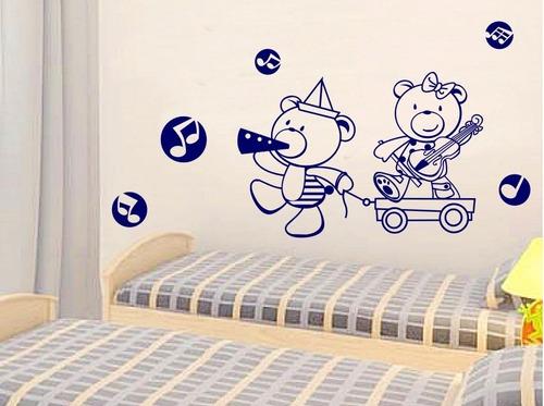 adesivo decorativo ursinhos tocando(90x63)cm