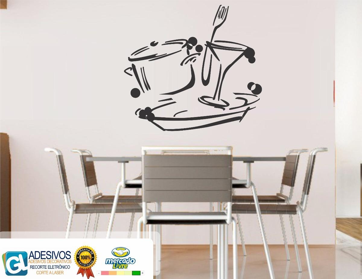 Adesivo Decorativo Xicara Gafo Faca Sala De Jantar Cozinha R 59  -> Adesivos Decorativos Para Sala De Jantar