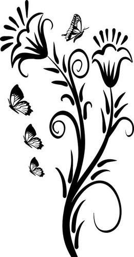 adesivo decorativos floral flores borboleta