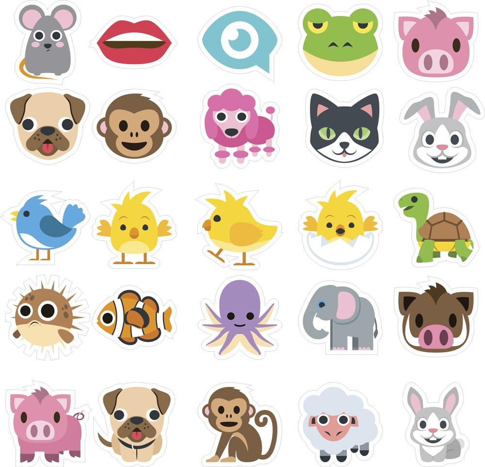 Adesivo De Parede Emoji ~ Adesivo Emoji Destacável Com Animais R$ 14,90 em Mercado Livre