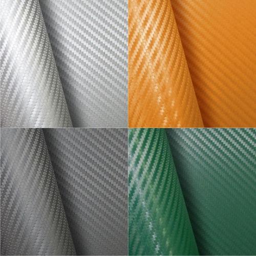 adesivo envelopamento fibra carbono preto e cores 34 x 50 cm