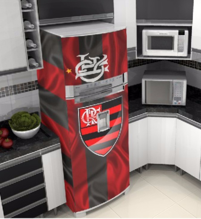Armario Lavabo Baño ~ Adesivo Envelopamento Geladeira Flamengo R$ 199,00 em