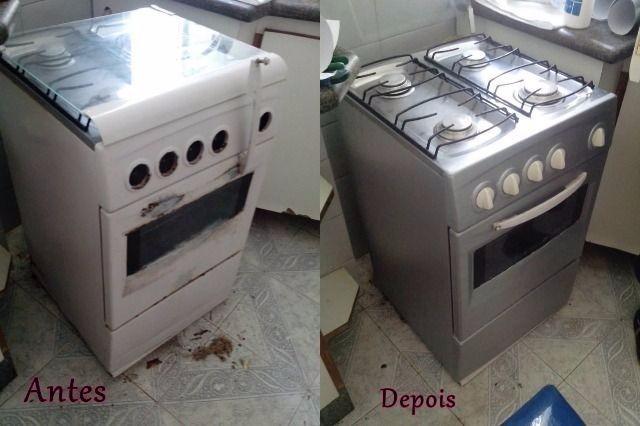 Armario Planejado Cozinha ~ Adesivo Envelopamento Geladeira Móveis Fog u00e3o Prata Tipo Inox R$ 9,45 em Mercado Livre