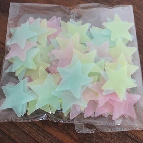 adesivo estrela fluorescente teto brilha neon kit 100un