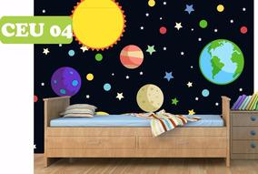 3ed0889b3ba8ea Adesivo Faixa Border Sistema Solar Lua Céu Estrelas 5m²