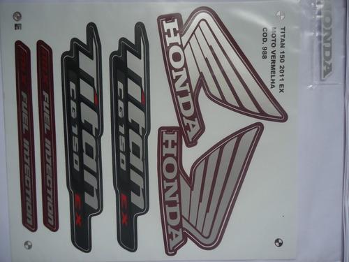 adesivo faixa cg titan 150 ex 11 vermelha