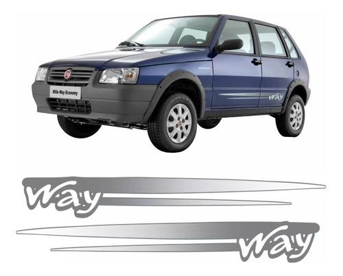 adesivo faixa lateral uno way 2008 2009 2010 2011 2012 cinza