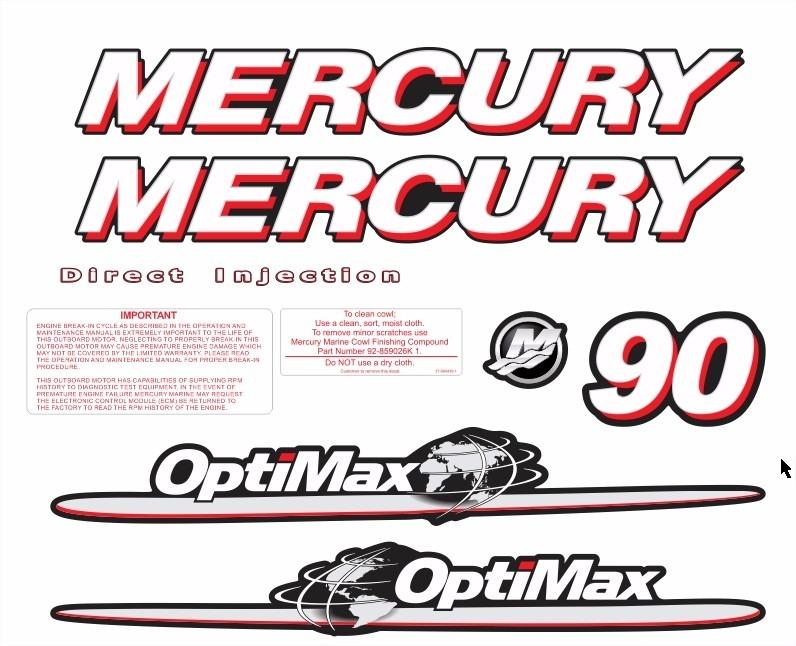 Adesivo Faixa Mercury 90 Hp Optimax Ano 2007 A 2012