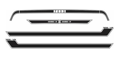 adesivo faixas ford maverick gt v8 fase 2 gtv8