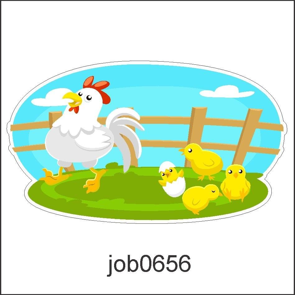 adesivo galinha animais fazenda filhotes desenho job0656 r 64 99