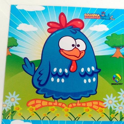 adesivo galinha pintadinha quadrado 7x7cm (20 unidades)