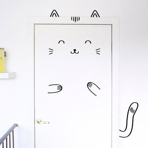 adesivo gato na porta cor branco