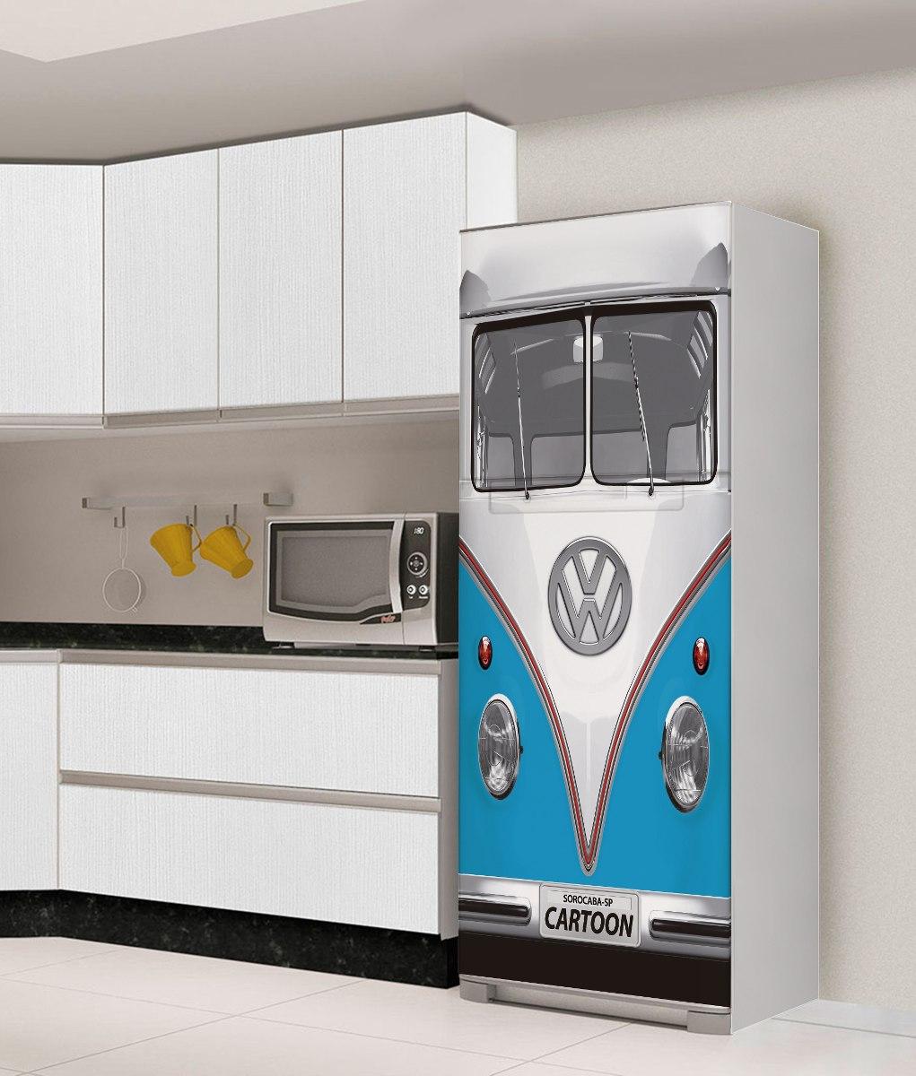 Armario Sob Medida Para Cozinha ~ Adesivo Geladeira Freezer Envelopamento Kombi Fusca Vw Retro R$ 129,00 em Mercado Livre