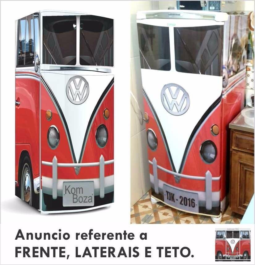 Artesanato Quarto Infantil ~ Adesivo Geladeira Kombi Decorativo P Envelopamento Freezer R$ 187,00 em Mercado Livre