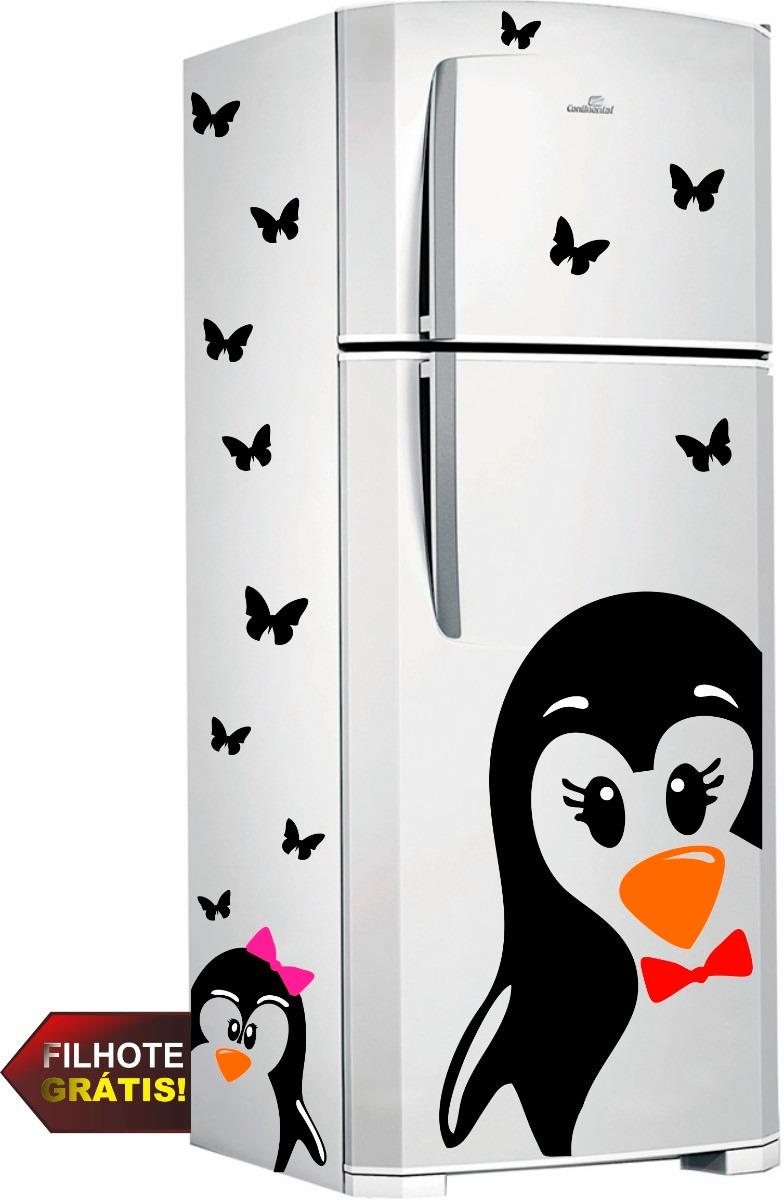 Aparador Em Mdf Com Gaveta ~ Adesivo Geladeira Pinguim Gigante + Borboletas + Pinguim