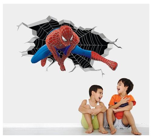 Aparador Redondo Para Sala ~ Adesivo Homem Aranha Infantil Parede Herois Parede Buraco 3d R$ 54,90 em Mercado Livre