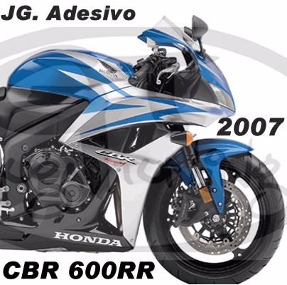 Adesivo Honda Cbr 600rr 2007 Azul E Prata Mat Importado R 36000