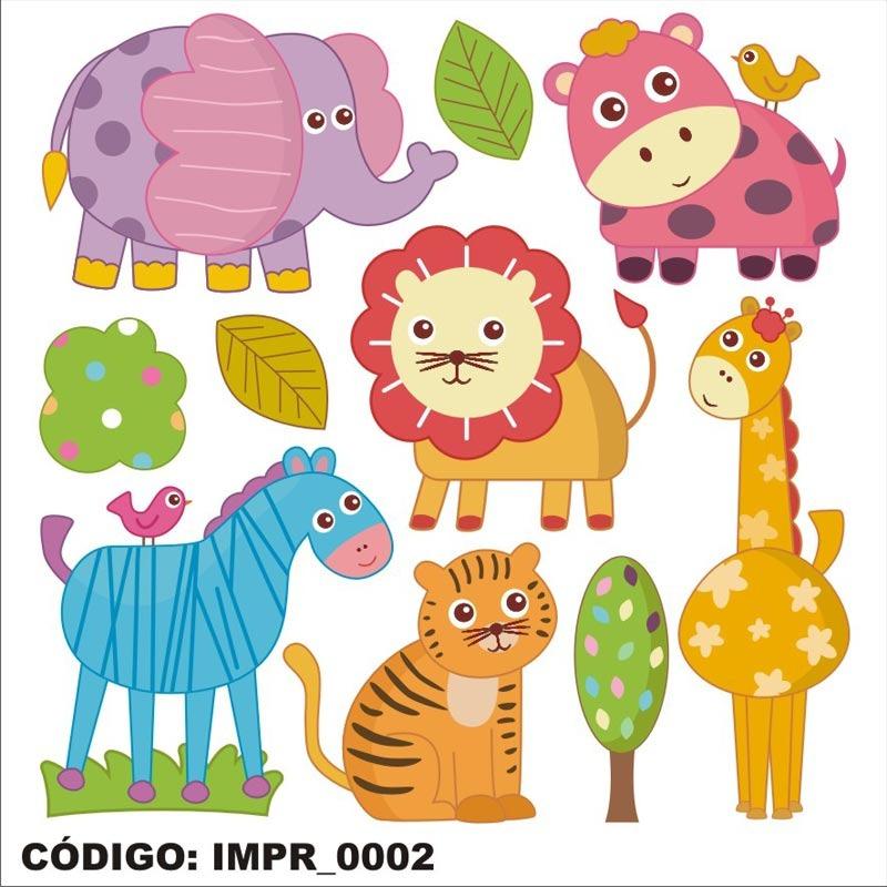 Adesivo Imp2 Infantil Desenho Kit Animais Safari Parede R 86 18