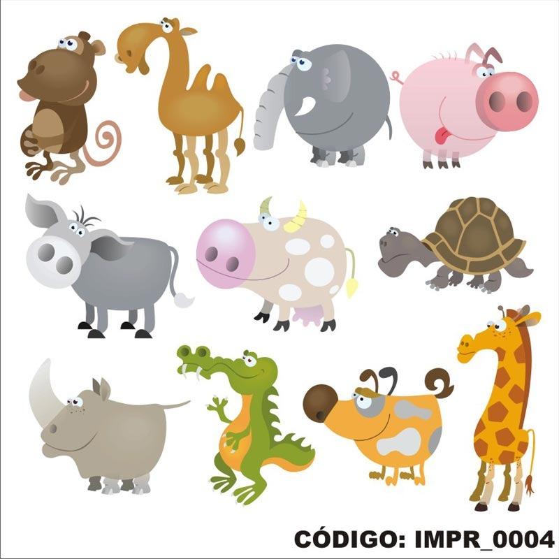 Adesivo Imp4 Infantil Desenho Kit Animais Girafa Macaco R 86 18
