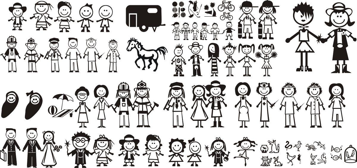 Armario Modulado Cozinha ~ Adesivo Impresso Família Feliz 4 Desenhos R$ 26,00 em Mercado Livre