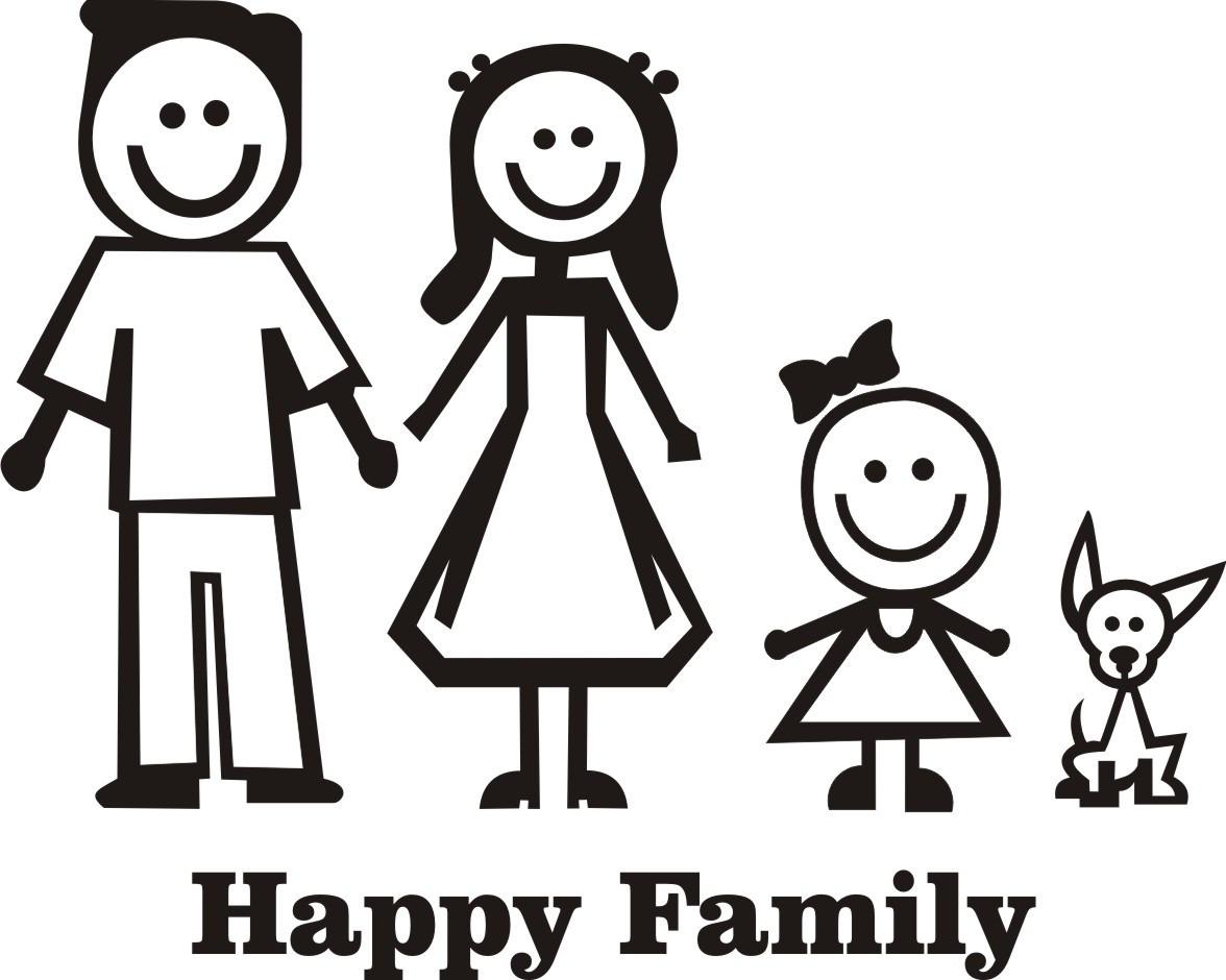 Adesivo Impresso Família Feliz 4 Desenhos