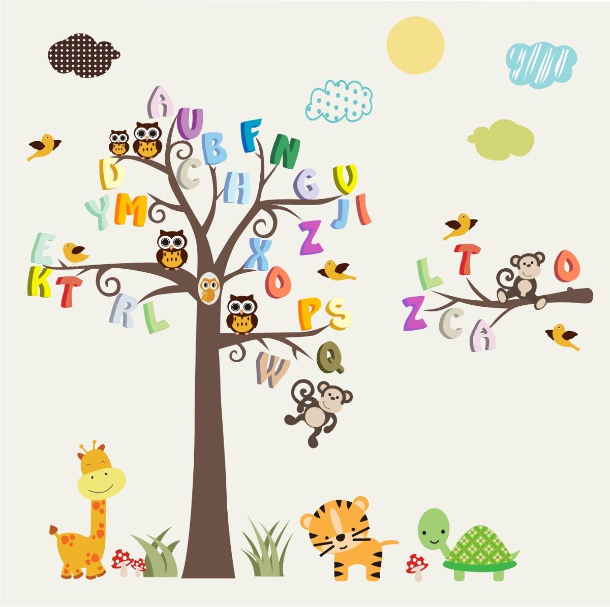 Artesanato Feltro Materiais ~ Adesivo Infantil Alfabeto Letra Macaco Girafa Arvore Zoo M99 R$ 148,00 em Mercado Livre