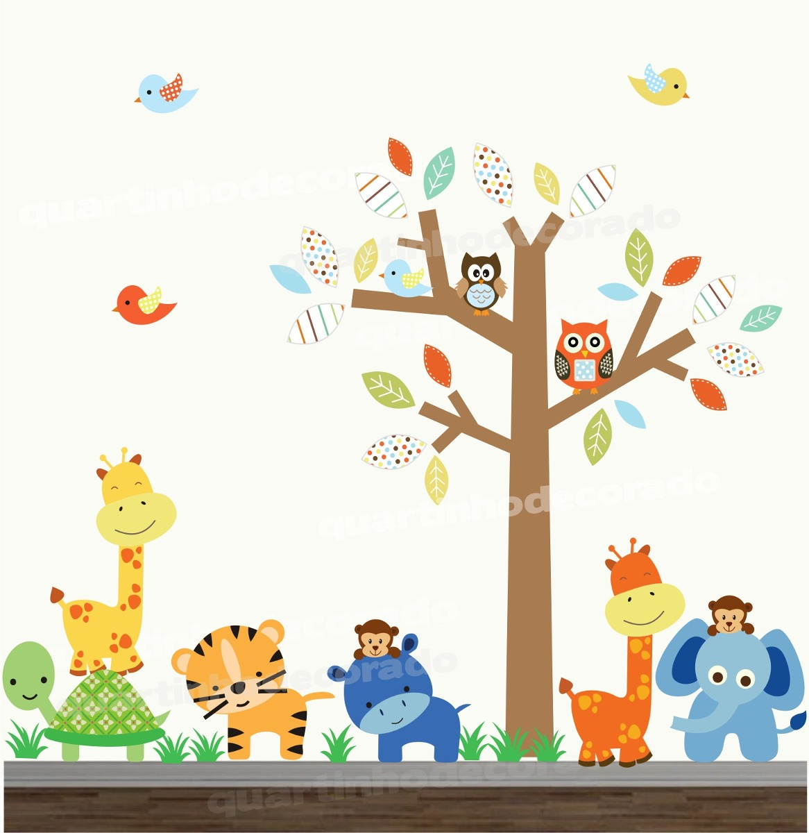 Adesivo infantil arvore bebe safari decorativo coruja zoo - Papel decorativo infantil ...