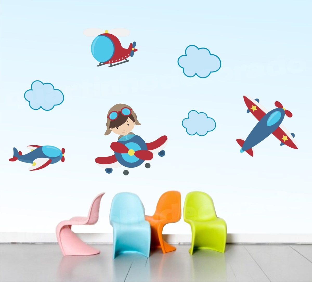 Adesivo De Parede Infantil Nuvens ~ Adesivo Infantil Aviões Céu Decorativo Parede Quarto Bebe