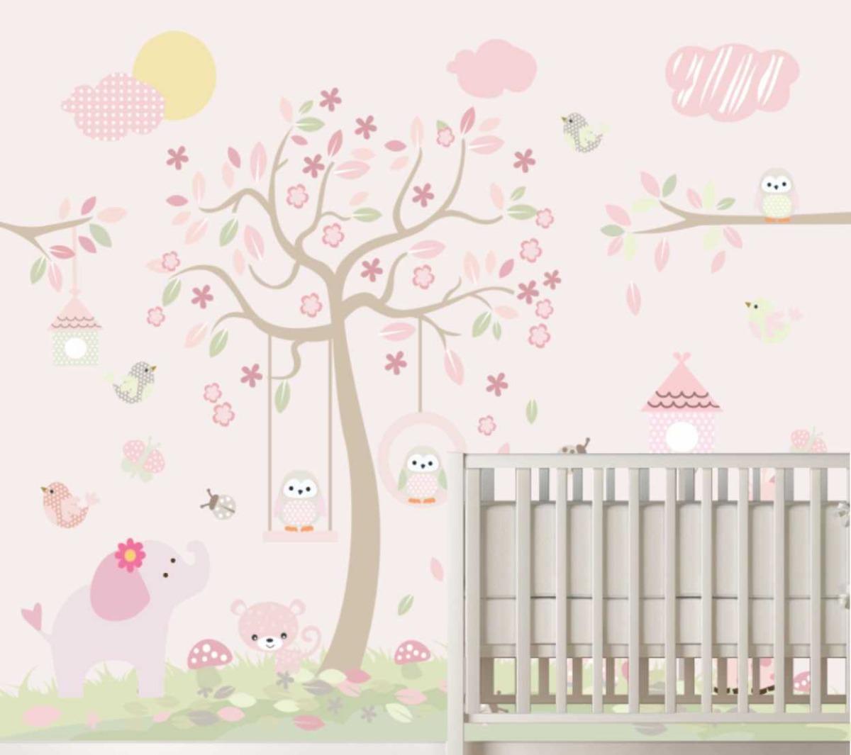 Adesivo Infantil Bebê Menina Arvore Bichos Fundo Rosa M72 R 110