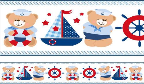 adesivo infantil decorativo border ursinho marinheiro